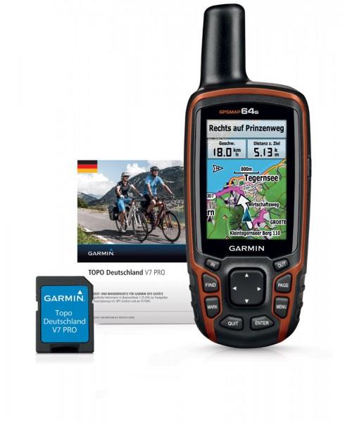 GARMIN GPSMap 64s+TOPO Deutschland V7 PRO Bundle microSD